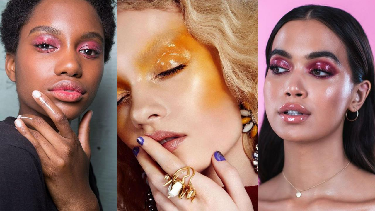 25 inspirations pour adopter le make-up glossy